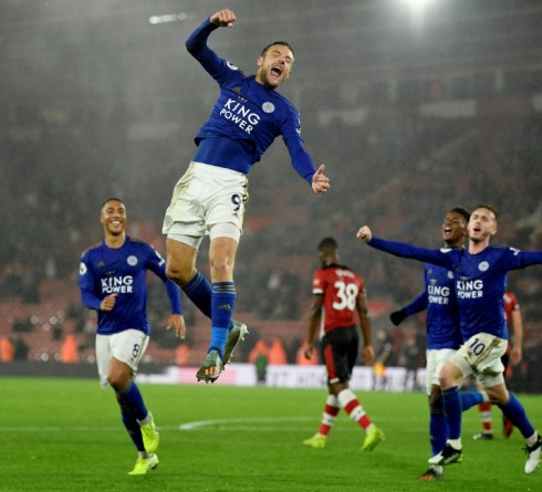 """Soccer Football - Premier League - Southampton v Leicester City - St Mary's Stadium, Southampton, Britain - October 25, 2019   Leicester City's Jamie Vardy celebrates scoring their ninth goal to complete his hat-trick    Action Images via Reuters/Tony O'Brien    EDITORIAL USE ONLY. No use with unauthorized audio, video, data, fixture lists, club/league logos or """"live"""" services. Online in-match use limited to 75 images, no video emulation. No use in betting, games or single club/league/player publications.  Please contact your account representative for further details.     TPX IMAGES OF THE DAY"""