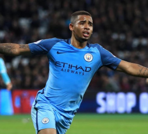 Manchester City's Gabriel Jesus celebrates scoring his side's third goal