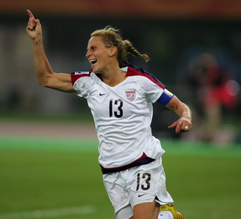 Kristine Lilly reacts after scoring during a quarter final match at the 2007 Women's World Cup