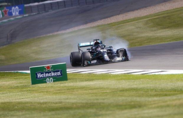 Hamilton won despite a flat tyre