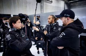 Wolff with Hamilton and Bottas at Belgian GP