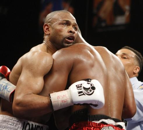 Bernard Hopkins Roy Jones Jr. during their light heavyweight boxing match, Saturday, April 3, 2010 in Las Vegas. Hopkins won by unanimous decision. (AP Photo/Isaac Brekken)