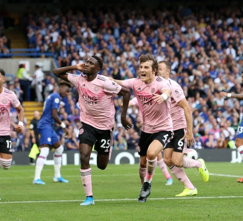 LONDON, ENGLAND - AUGUST 18: Wilfred Ndidi of Leicester City celebrates with Caglar Soyuncu of Leicester City after scoring to make it 1-1 during the Premier League match between Chelsea FC and Leicester City at Stamford Bridge on August 18, 2019 in London, United Kingdom. (Photo by Plumb Images/Leicester City FC via Getty Images)