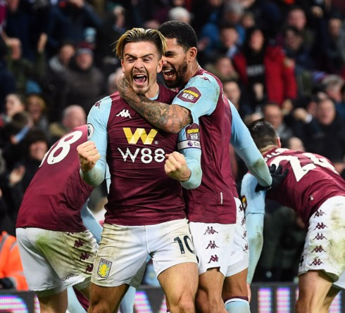BIRMINGHAM, ENGLAND - JANUARY 21: Jack Grealish of Aston Villa celebrates after Tyrone Mings scored their second goal during the Premier League match between Aston Villa and Watford FC at Villa Park on January 21, 2020 in Birmingham, United Kingdom. (Photo by Clive Mason/Getty Images)